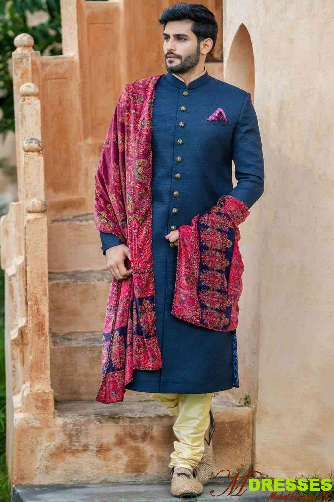 fashion designer sherwani pakistani purple color