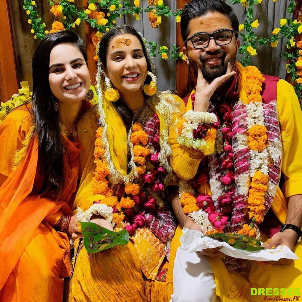 Sana Sarfraz mayon pictures with yellow dress