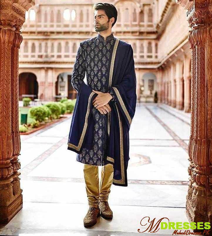 Royal style blue sherwani designs