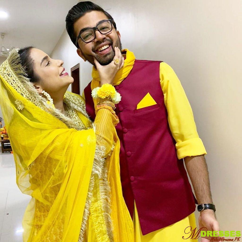Pakistani Model Sana Sarfaraz with Husband Beautiful Mayon Wedding Dresses