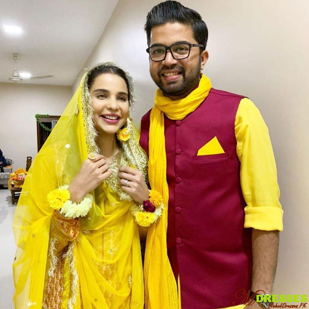 Actress sana sarfaraz with husban wedding dresses